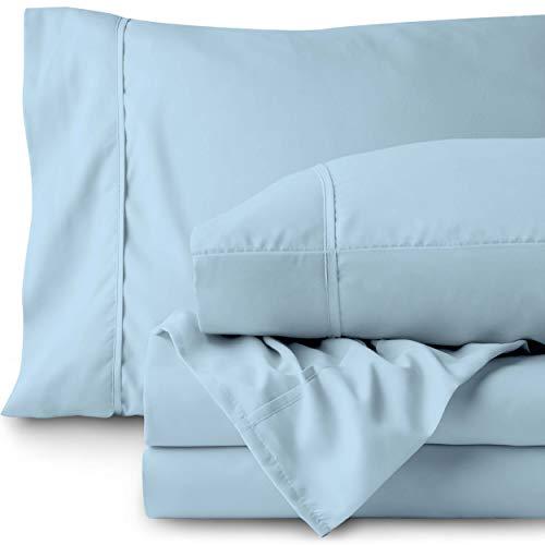 Bare Home Split King Sheet Set - 1800 Ultra-Soft Microfiber Bed Sheets - Double Brushed Breathable Bedding - Hypoallergenic - Wrinkle Resistant - Deep Pocket (Split King, Light Blue)