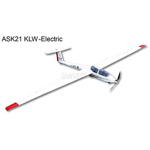Arf Electric Planes (FlyFly Hobby ASK-21 KLW Electric Glider 2600mm Fiberglass RC Sailplane ARF with Motor Prop Spinner Esc Servo)