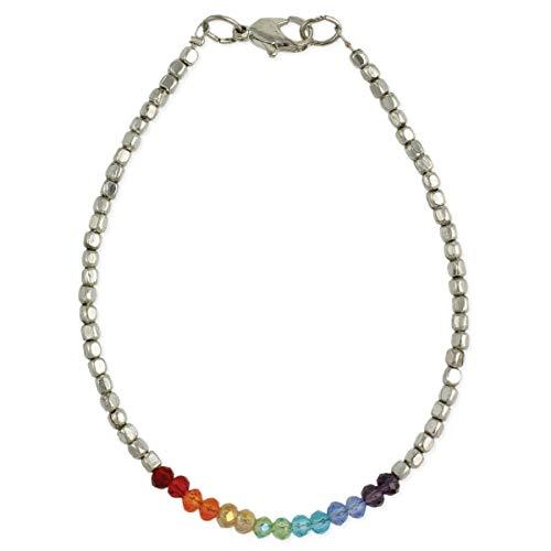 Zad Jewelry Rainbow Sparkle Beaded Anklet Bracelet, Multi