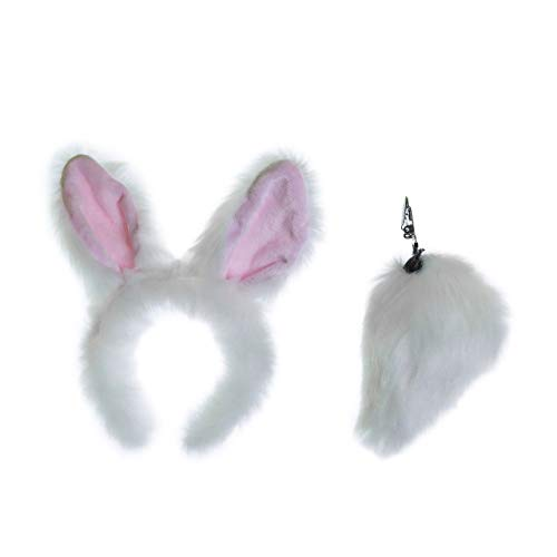 Wildlife Tree Plush White Rabbit Ears Headband and Tail Set for Bunny Costume, Cosplay or Forest Animal Costumes