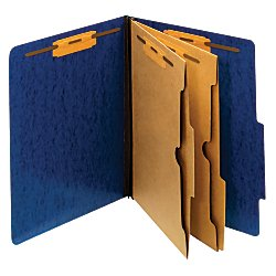 Moisture Resistant Classification Folders (Pendaflex(R) Moisture-Resistant 6-Fastener Classification Folders, 2in. Expansion, Letter Size, Dark Blue, Box Of 10)