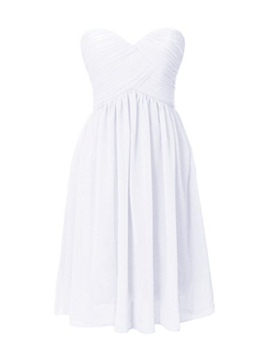 Short Sweetheart White Gown Anlin Dress Homecoming Bridesmaid Prom Chiffon Womens AN68 4PxH57qHwY