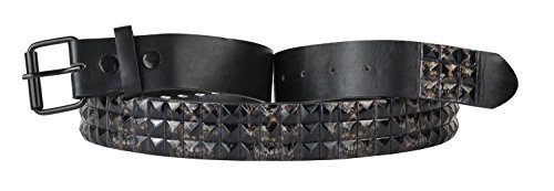 Leather 3 Pyramid Studded Belt - 9