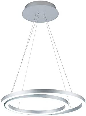 WELAKI LED Modern Pendant Light, 2 Rings Acrylic Chandelier Pendant Lighting Fixture for Living Room, Dining Room, Kitchen Island, Bedroom, 60W Natural White 6000K Silver