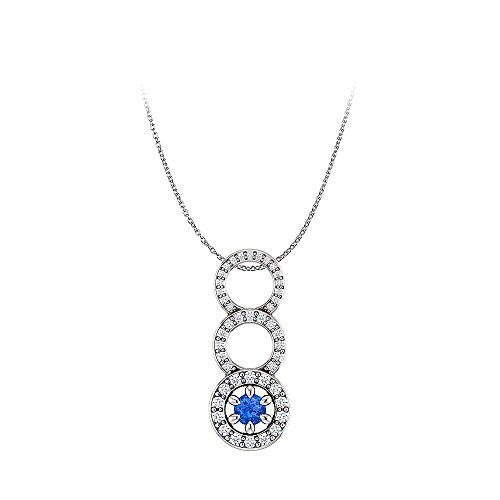 Graduated Circle Sapphire Diamond Pendant Free Chain