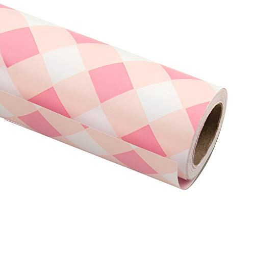 RUSPEPA Gift Wrapping Paper Roll-Baby Pink Plaid White Background Design for Wedding, Birthday, Shower, Congrats, and Holiday Gifts – 30 Inch X 32.8 Feet