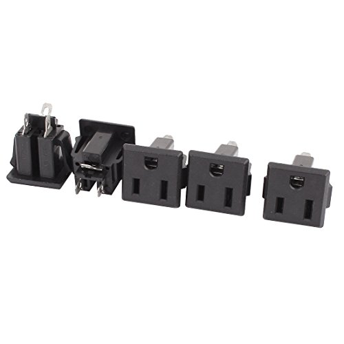 uxcell 5 Pcs AC 125V US Outlet Panel Mount Power Rewiring Socket Black