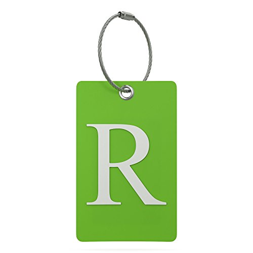 Luggage Tag Initial - Fully Bendable Tag w/ Stainless Steel Loop (Letter R)