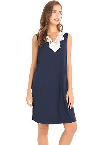 Amorbella Women's Soft Bamboo Chemise Nightgown Sleeveless V Neck Nighty(Navy, Large)