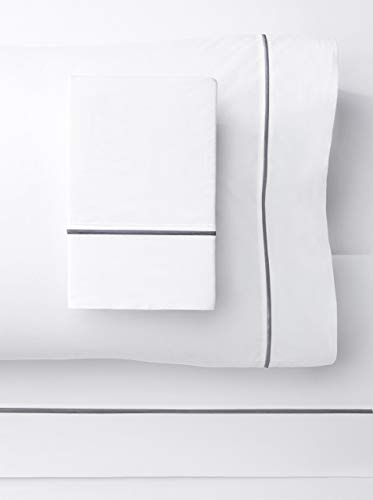 Cotton Sheet Set Emb - SeventhStaRetail 1000 Thread Count Single Stripe Embroidery Sheet Set (Dark Grey EMB ON White, Cal King)