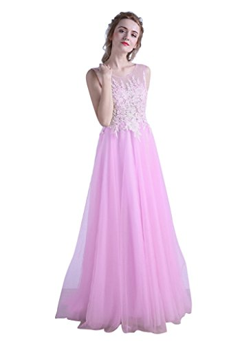 Beaded Slim Cut Formal Dress (Vimans Womens Long Light Pink Semi Formal Party Lace Dresses for Slim Girls, 8)
