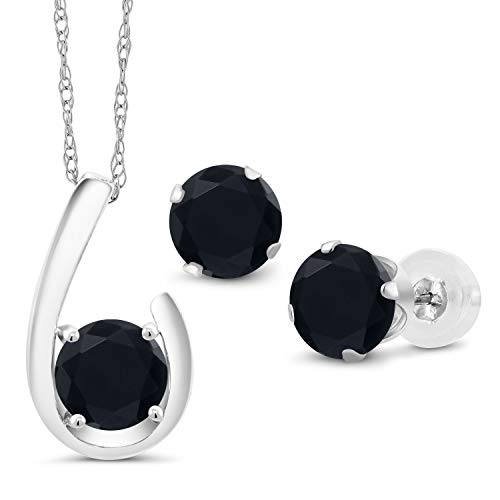 (Gem Stone King 2.10 Ct Round Black Onyx 10K White Gold Pendant Earrings Set With Chain)
