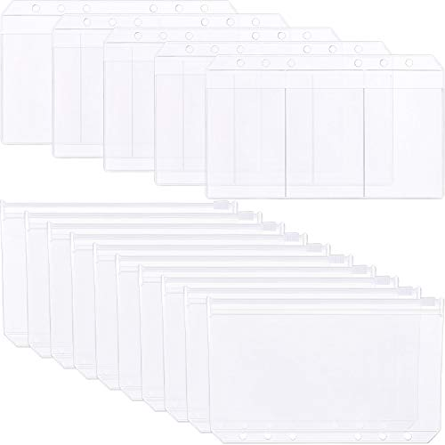 Tatuo 30 Pieces A6 Size Translucent Plastic 6 Holes Loose Leaf Bags Notebook Refills Filler Organizer, 2 Types Include Zipper Bag and Business 3-Card Storage Bag (30 Pieces, A6 Size)