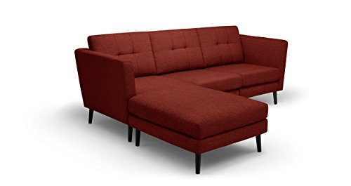 Burrow: The Luxury Couch for Real People. Brick Red Three-Seater Sofa with High Arms and Chaise. Modular, Chemical-Free, Non-Toxic, Easy Setup. Integrated USB Charging Port. Made in the USA. (Lounge Brick Chaise)