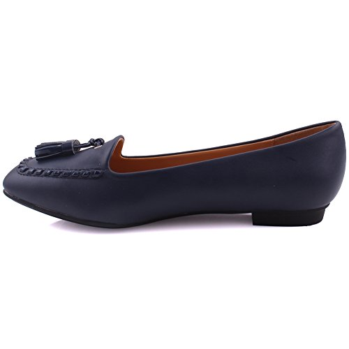 Unze Frauen Hilda Genäht Stil Vielseitig Dress Casual Quaste akzentuierte Loafer UK Größe 3-8 - GP20113-5 Marine