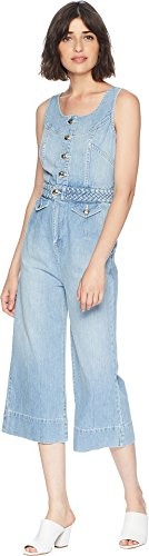 Juicy Couture Women's Denim Braided Culotte Jumpsuit Driftwood Wash 4
