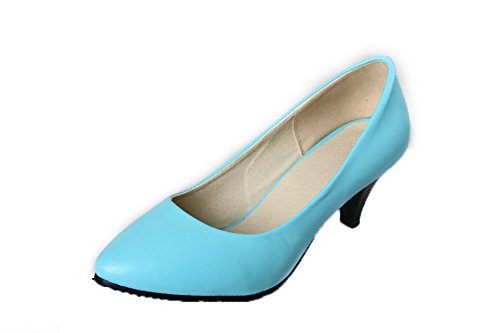Women's Solid On Blue Heels PU Toe WeenFashion Pull Court Shoes Kitten Closed q8CadF8UOw
