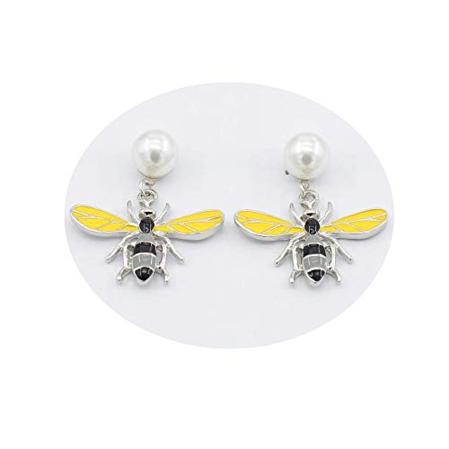 WLLAY Shining White Pearl Tiny Yellow Bumble Bee Honeybee Earring Cute Insect Ear Jewelry (Silver)