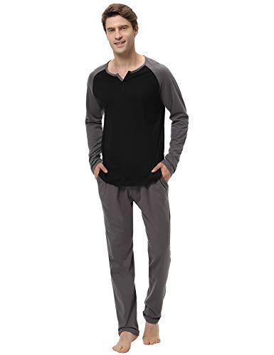 Col Noir De Coton 100 1 Aibrou Manche Parties V Ensemble Chauds Pyjamas Homme Literie Longue Deux Style Pyjama CznCgqWUT