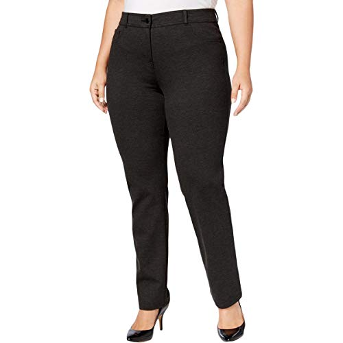 Style & Co. Womens Plus Heathered Ponte Dress Pants Gray -