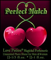 Love Potion: Perfect Match ~ UNscented Pheromone Blend for Men and Women - 1/3 fl.oz. Roll On-Oil First Love Matches