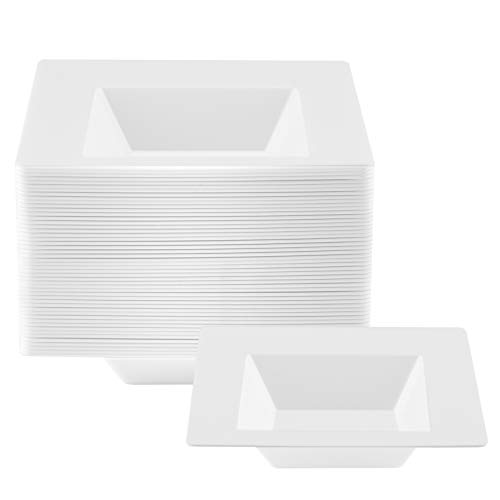 NYHI 6 Ounce Small Square Plastic Bowls | Single Use Recyclable Dinnerware for Household, Restaurant, Weddings & Parties | Durable, Fruit Plate & Salad Bowl | 50 Pack