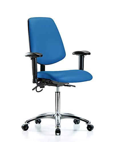 LabTech Seating LT41276 ESD Vinyl Medium Bench Chair Medium Back Chrome Base, Arms, ESD Casters Blue