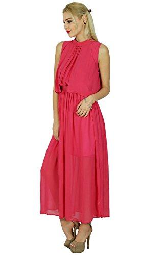 Pink Clothing Dress Georgette Chic Maxi Boho Half Lined Long Bimba Sheer Pink vx1n7w0P