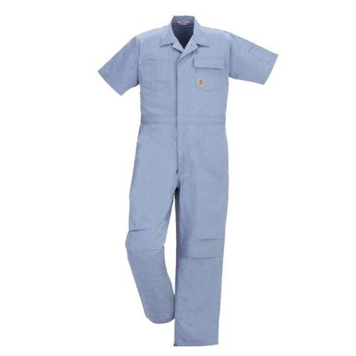PERSON'S (パーソンズ)半袖つなぎ ツナギ おしゃれアメリカンスタイル ミニヘリンボン yt-p020 B01N174EU9 M|ブルー