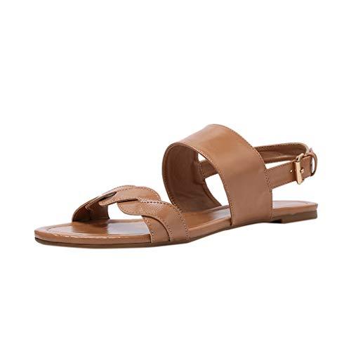 (Retro Ladies Flat Sandals Open Toe Buckle with Roman Sandals Fashion Non-Slip Stretch Beach Casual Sandals MEEYA Beige)