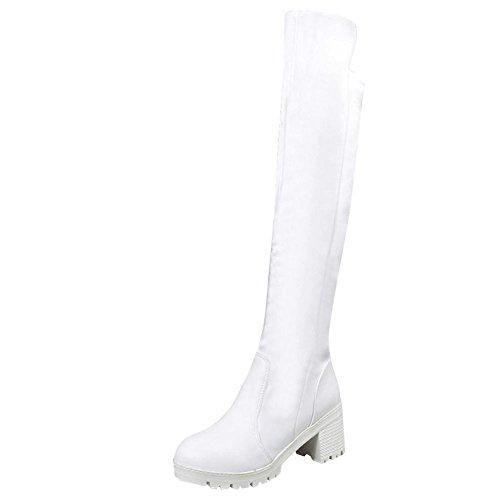 Mee Shoes Damen chunky heels langschaft Plateau Stiefel Weiß