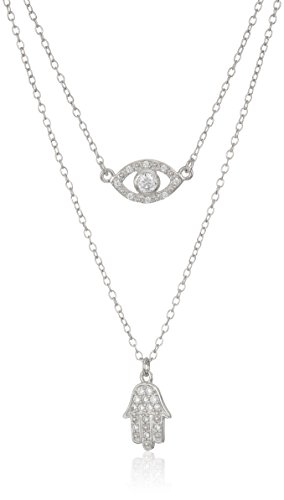 Rhodium Sterling Zirconia Necklace Extender