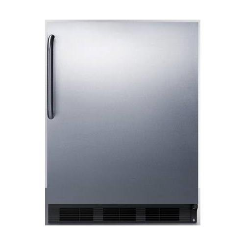 AL652BBISSTB 24 ADA Compliant Compact Refrigerator with 5.1 Cu. Ft. Capacity Cycle Defrost Adjustable Glass Shelves Dual Evaporator Interior Light and Professional Towel Bar Handle in Stainless Steel
