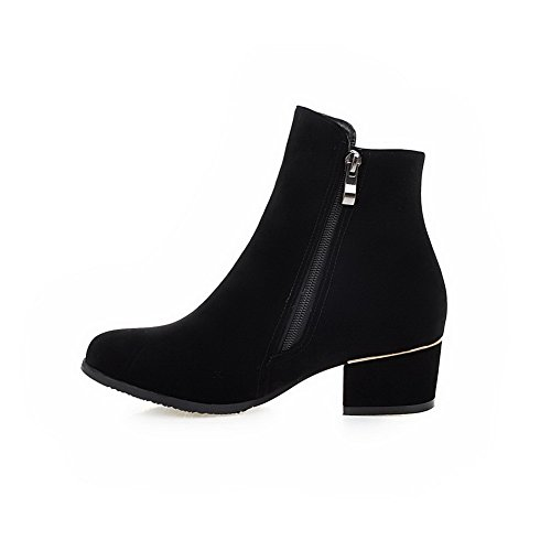Allhqfashion Women's Zipper Round Closed Toe Kitten-Heels Imitated Suede Low-top Boots Black l8lrP