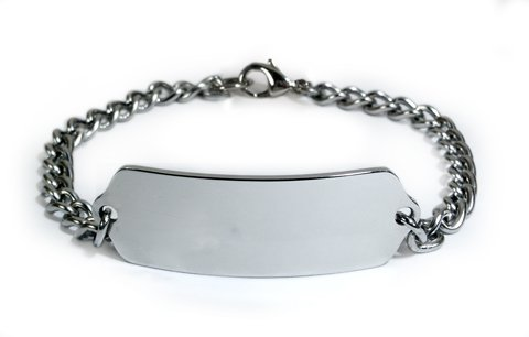 MIGRAINES Medical ID Alert Bracelet with Embossed emblem from stainless steel. Style: Classic wide, premium series.