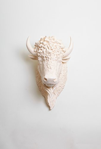 The Aspen | Antique White Resin Bison Head | Antique White Buffalo Head Mount Wall Decor by White Faux Taxidermy | Animal Head Wall Hanging Sculpture | Decorative Buffalo Head by White Faux Taxidermy