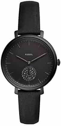 Fossil Women's Jacqueline Three Hand Black-Tone Stainless Steel Watch ES4490