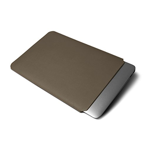 Lucrin - Schutzhülle für MacBook Air 11 Zoll - Violett - Glattleder Dunkeltaupe