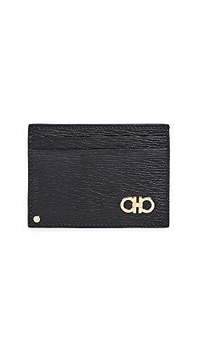 - Salvatore Ferragamo Men's Revival Card Case, Black/Gold, One Size
