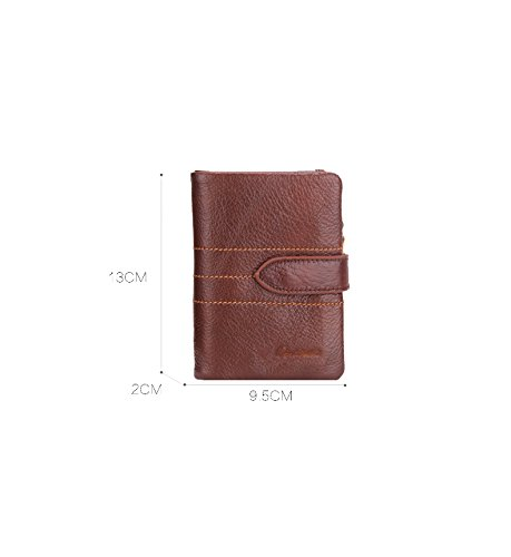 Pocket Retro Large Capacity Zipper Coin Holder Pockets Genuine Credit Wallet Cash Leather Wallet Brown2 Purse ID Black Vertical HYSENM Bifold Card Hollow Men Holders Clutch Short Xqw8q6FA