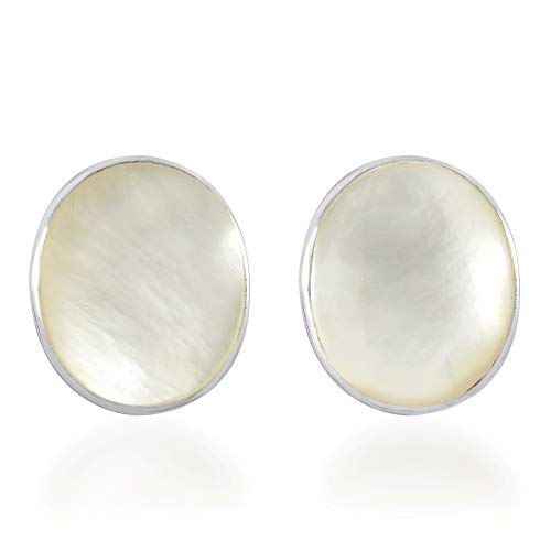 Classy Oval White Mother of Pearl .925 Sterling Silver Stud Earrings
