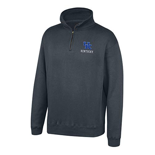 Top of the World NCAA Men's Kentucky Wildcats Dark Heather Classic Quarter Zip Pullover Charcoal Heather Large