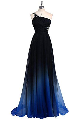 Aimo 2016 Ombre One Shoulder Chiffon Prom Dress Formal Gown AM058black-blue-US12