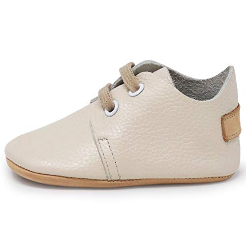 Toddler Designers - Ella Bonna Mini Oxford Shoes | Cowhide, Full Grain Leather Sole | Flexible | Handmade Designer Moccasins | for Baby Boys Girls Toddlers (US 7 M, Beige)