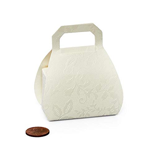"Embossed Bianco Purse Shaped Favor Box - Ivory - 2-1/8"" X 1-5/16""X 1-1/4"" - Case 200"