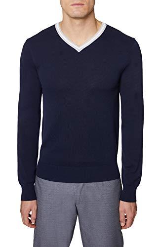 Hickey Freeman Silver Men's Long Sleeve V-Neck Sweater, Navy, 3X