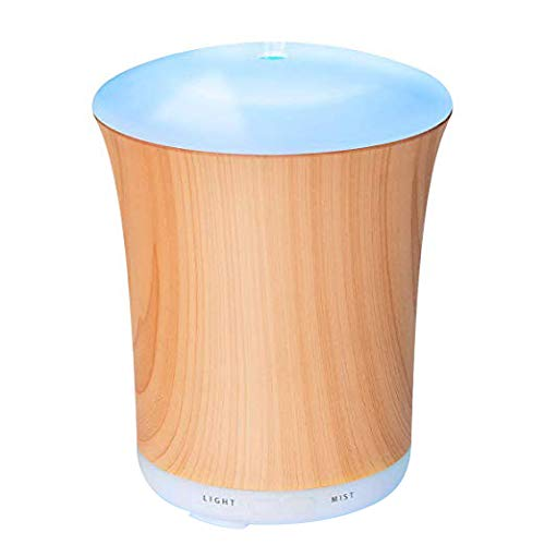 ZOOKKI Upgraded Aromatherapy Essential Oil Diffuser, 200ml Wood Grain Ultrasonic Aroma Diffusers Mini Cool Mist Humidifier with 8 Colors LED Lights & Waterless Auto Shut-Off for Home Office Bedrooms