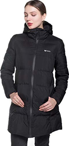 valuker Women's Seamless Hooded Down Coat Jacket Puffer Parka Jacket Black-11-L