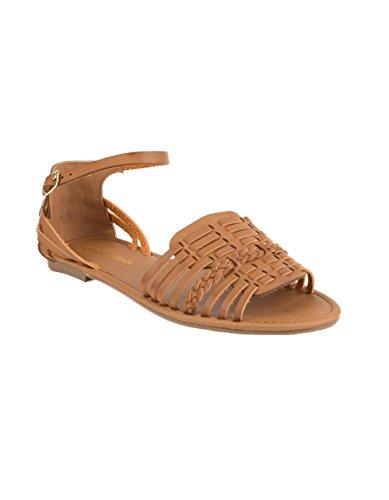 City Classified Woven Basket Weave Tan Sandals, Tan, 7