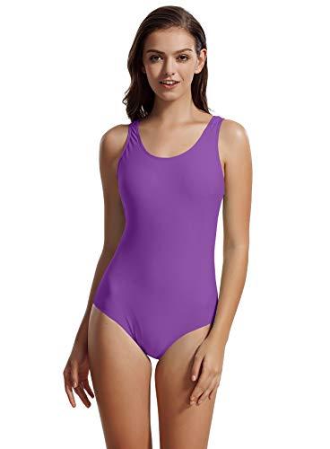(zeraca Women's Sport Racerback One Piece Swimsuit Swimwear (Medium / 10, Purple Hebe))